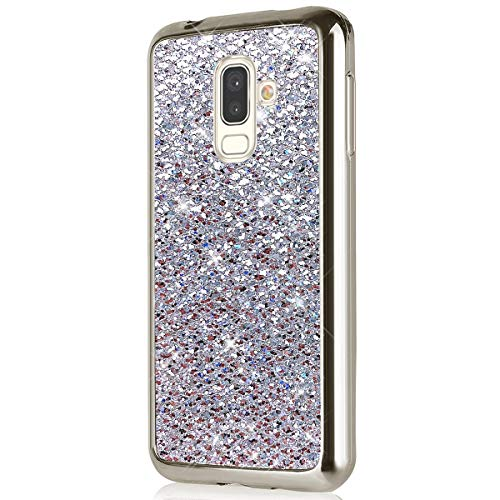 Herbests Kompatibel mit Samsung Galaxy J8 2018 Hülle Glitzer Glitzer Glänzend Kristall Strass Diamant Überzug Silikon Schutzhülle Handyhülle Tasche Bumper Case Ultradünn Cover,Silber