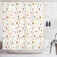 tgyew Ice Cream Shower Curtain, Cartoon Doodle Style Creamy Delicious Diary Desserts with Various Sweet Flavors, Cloth Fabric Bathroom Decor Set with Hooks, Blush Cream, 60x72 inches