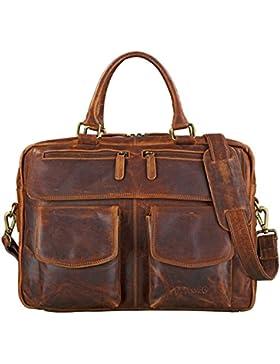 STILORD 'Kansas' Umhängetasche Leder 15,6 Zoll Laptoptasche Vintage Herren Damen Schultertasche groß Uni Büro...