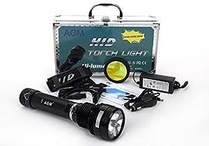 AGM® Lampe Torche 35w HID Xenon 3500Lumens 6600mAh Rechargeable 5 modes Lumière noir avec batterie et chargeur pour randonnée Camping pêche Spotlight