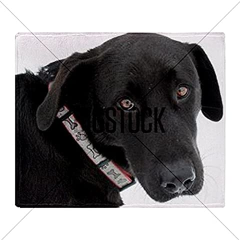 CafePress negro laboratorio perro sobre fondo blanco. Manta–estándar