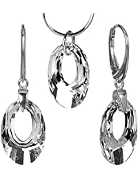 SILVEGO 925 Sterling Silver Jewellery Set with Swarovski® Crystals Clear 0PeGTF3