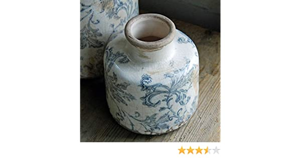 Bluebell Yard Stoke Petit Vase en Pot dencre Bleu et Blanc