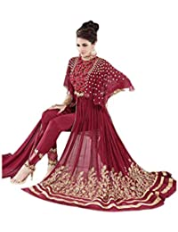 Shoppingover New Collection embroidered party wear Indo weatern Dress in Georgette Fabric-Maroon Color