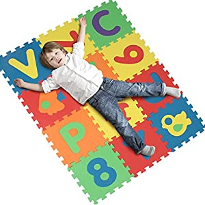 INTEY 40 Pcs Foam Play Mat Large Size Interlocking Baby Foam Mats for Christmas Baby Playing (Color Random )