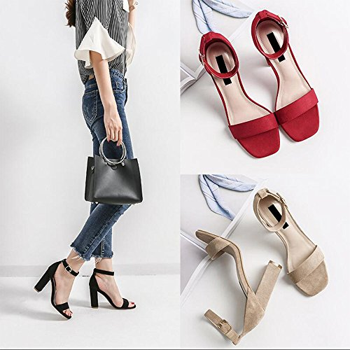 Eastlion Mode Quadratischer Kopf Frauen Sandalen Offener Zeh Gürtelschnalle Rough Schuh Ferse Hochhackige Sandalen Rot