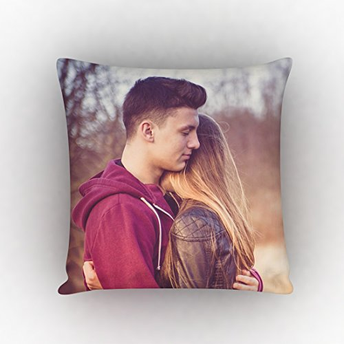 GiftsOnn Personalized Photo Satin 100 Tc Pillow/Cushion- White, 12*12
