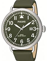 Pulsar Watches Classic All Olive Date Watch With Leather Strap