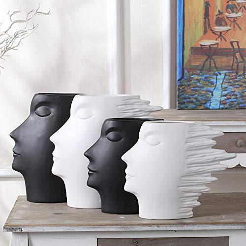 KINGZHUO Umani Side Face Silhouette Testa di Vaso di Ceramica Uomo Ritratti casa Decorazione Artigianale Bianco Nero Classico Vaso Design Artistico Small Infradito Colorati Estivi, con finte Perline