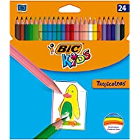 BIC Kids Tropicolors - Blíster de 24 lápices de colorear sin madera ultrarresistentes, multicolor