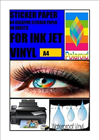 10 GLOSS WHITE A4 INKJET SELF ADHESIVE STICKERS PHOTO QUALITY VINYL COATED