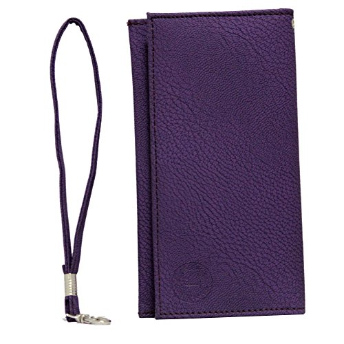 Jo Jo A5 G8 Leather Wallet Universal Pouch Cover Case For Panasonic P55 Purple