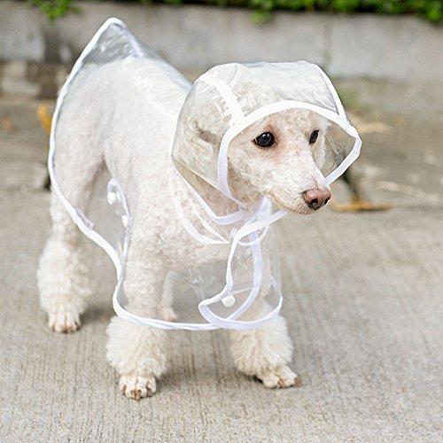Winthome pliable Transparent Manteau imperméable à capuche imperméable Housse de pluie pour Small Medium Pets pluie Vêtements d'extérieur