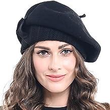 Forbusite Boina de mujer en lana 100% con lazo baed0e47ebd