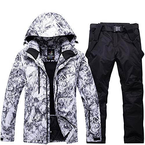 GoodLuckShop Herren Skianzüge Winterjacke Kälteschutz Warmhalten Bergsteigeranzug Furnier Doppeldecker Ski Jacket Hose