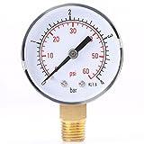 """FTVOGUE Mini manometro a bassa pressione 1/4"""" NPT montaggio laterale in ottone per carburante, aria o acqua 0-4 bar / 0-60 psi NPT"""