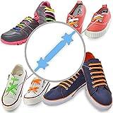 Gummi Schnürsenkel (Blau - Erwachsene) – Elastische Silikonschnürsenkel mit besonderem Design, einfaches Schnüren und Aufschnüren – Perfekt für Kleinkinder Vorschulkinder körperlich benachteiligte Kinder, oder ältere Menschen mit Arthritis