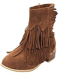 Qiusa Zapatos de Borla de tacón Cuadrado con Punta Redonda para Mujer Botas  para la Nieve de Color Liso con Cordones (Color   Marrón abca9e1aafae