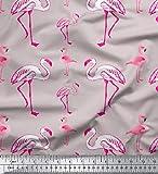Soimoi Flamingo-Vogel-Druck 58 Zoll breit Baumwoll Voile Stoff Nähen Material durch die Meter-Gray