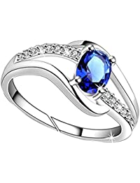 Lady Touch Cz Blue Stone Diamond Silver Adjustable Finger Rings for Girls and Women_Free Size