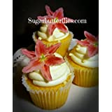 Edible Wafer Paper Star Lily Flower Cake Decorations Cupcake Toppers Set Of 12