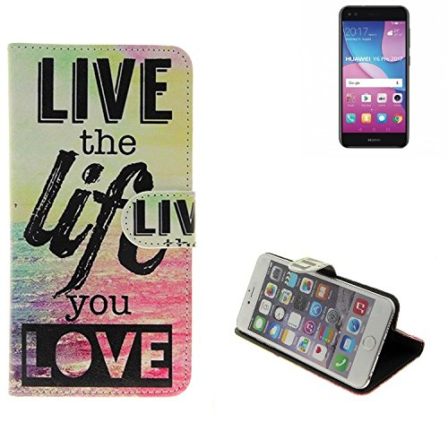 K-S-Trade Für Huawei Y6 Pro 2017 Dual SIM 360° Wallet Case Schutz Hülle ''live The Life You Love'' Schutzhülle Handy Hülle Handyhülle Handy Tasche Etui Smartphone Flip Cover Flipstyle für Huawei Y6