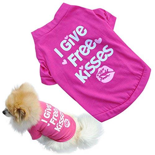 Pets Baumwolle Kleidung, Transer® Pets Weste Kisses bedruckt Kleidung Hunde outwears Weihnachts Fell Puppy T-Shirts für Dress Up Doggy Kostüme Hot Pink Pup Apparel