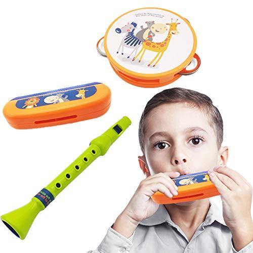 Catkoo 3 Teile/Satz Cartoon Tier Kinder Mundharmonika Flöte Musikinstrument Spielzeug, Perfektes Training Kinder Intelligenz, Entwickeln Gehirn Geschenke