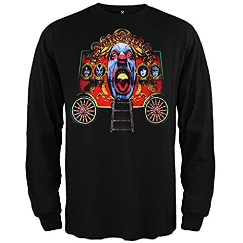 Old Glory Men's Kiss Circus Wagon Long Sleeve T-Shirt Black X-Large