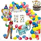 MMTX Carnevale Circo Decorazione Festa di Compleanno, Buon Compleanno Decorazioni Ragazzo Ragazza con Striscioni di Happy Birthday Decorazioni, Elefante Clown Palloncino per Circo Parco divertimenti