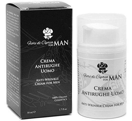 Crema Viso Antirughe Uomo - Principi Attivi di Cellule Staminali, Acido Ialuronico Puro Concentrato Anti-age, Profumo adatto all'uomo - 50 ml