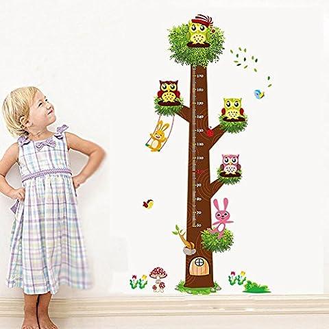 Y & B Coque imperméable Motif chouette Arbre Hauteur DIY amovible Art Mural Stickers enfants Nursery