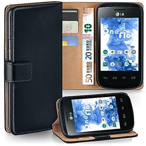 Pochette OneFlow pour LG Optimus L1 II housse Cover avec fentes pour cartes | Flip Case étui housse téléphone portable à rabat | Pochette téléphone portable étui de protection accessoires téléphone portable protection bumper en DEEP-BLACK