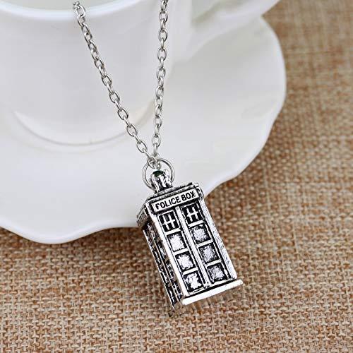 Doctor Who Halskette 3d Antik Silber Tardis Polizei Box Zinn Große Lange Kette Anhänger Halskette Für Männer Frauen