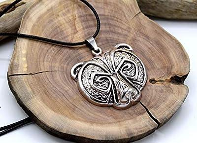 ETHNIC FEATHER -Collier pendentif celtique tête d'ours, pendentif en métal argenté, pendentif animal de la forêt, viking cèlte, cadeau anniversaire