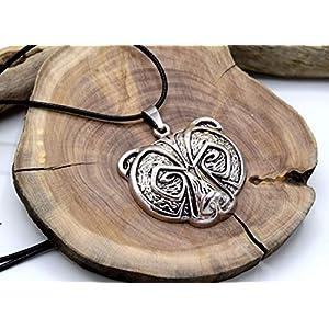 EthnicFeather – keltischer Bär Anhänger Halskette, Silber Metall Anhänger, Wald Tier Anhänger, Wikinger Kelt…