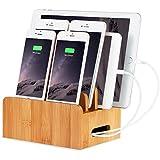 xphonew madera de bambú base de carga soporte para Apple reloj y estación de acoplamiento cuna soporte para iPhone 66S, se, 55s 5C, iPad 4, Air Pro 2mini 234iPod y smartphones y tablets