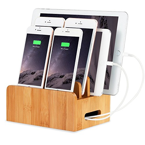 XPhonew Bambus Holz Laden Dock Halter für Apple Watch und Dockingstation Cradle Halterung für iPhone X 8 7 6 6S Plus SE 5 5S 5 C iPad 3 4 Air Pro 2 Mini 2 3 4 iPod und Samsung Smartphones und Tablets Ipod-cradle