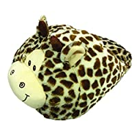 Cozytime Bigfoot Novelty Giraffe Design Plush Fleece Super Snug Giant TV Slipper - Free Size Brown