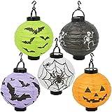 COM-FOUR® 5X Lanterne con Motivi spettrali di Halloween, Lanterne di Carta Colorate, Ø 20 cm (005 Pezzi - Halloween)