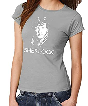 -- Sherlock - Face -- Girls T-Shirt Sports Grey, Größe XXL