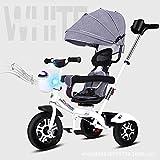 SSRS Kinderwagen Dreirad,4 in 1 Kinderdreirad Flüsterleise Abnehmbarer Sonnendach lenkbarer Schubstange verstellbare Fußablage Dreirad für Kinder Belastbarkeit bis 30 kg, Pink