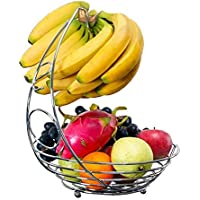 Fruit Basket Bowl with Banana Hanger Hook - Premium Quality Stainless Steel with a Chrome Finish