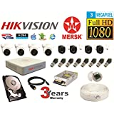 MERSK Hikvision 8 Channel Turbo Full HD Dvr CCTV Camera Kit with All Required Accessories(3MP, White)