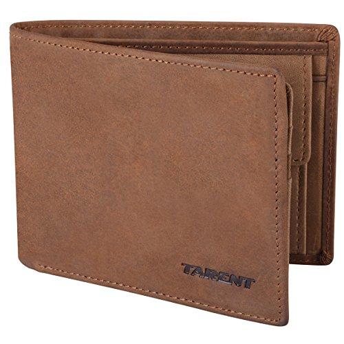 Geldbörse Herren/Geldbeutel Männer aus Vintage-Leder, Portemonnaie/Portmonaise/Geldtasche mit RFID Schutz, Ledergeldbörse von Tarent