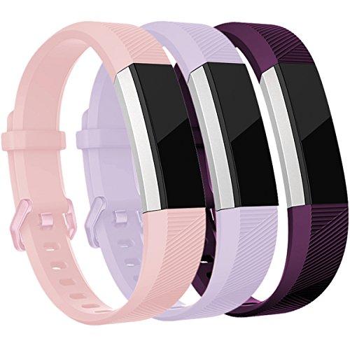 HUMENN Für Fitbit Alta HR Armband, Alta Armband Verstellbares Sport Ersatz Band Ersatzarmband Wristband Silikonarmband Fitness Zubehörteil mit Metallschließe Small Blushpink+Lavendel+Pflaume
