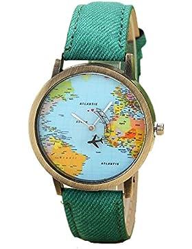 Ouneed® Uhren, Neue globale Reise durch Flugzeug Karten Frauen Kleid Uhr Denim Gewebe Band