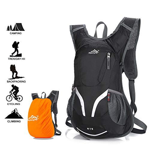 Zaino per bici, Zaino da ciclismo impermeabile e traspirante con copertura antipioggia, Zaino da sci leggero da 15 litri, Borse sportive per bicicletta Escursionismo Campeggio Alpinismo Sci Trekking