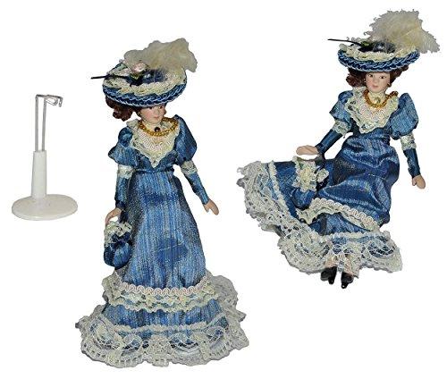 Frau / Mutter - Puppe für Puppenstube Maßstab 1:12 - Porzellan Barock Kleid blau - Puppen mit...