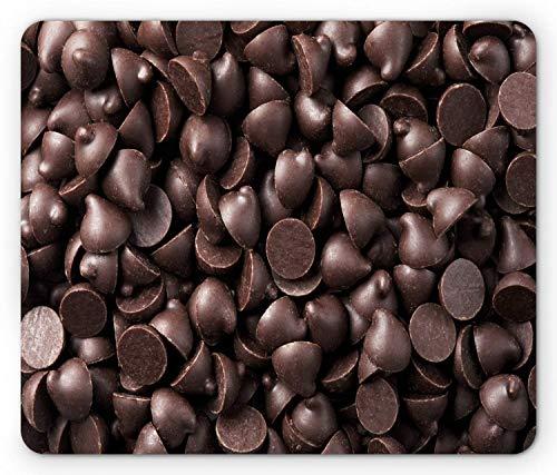Close Up Food Fotografie von Schokoladen-Chips Köstliches Dessert Backen Gourmet-Druck, Standardgröße Rechteck Rutschfeste Gummi-Mousepad, Braun,Gummimatte 11,8